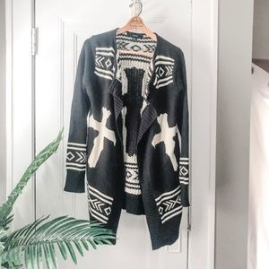 F21 tribal Aztec boho long waterfall cardigan *